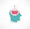 Kuchen und Kopfsymbol. Gedanken über Lebensmittel-Konzept.