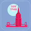 New York Empire State Building icon Flach