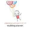 Hochzeitsplaner mit Ballons fliegen