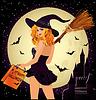 Halloween Verkauf. Sexuelle Einkaufs Hexe und Schloss