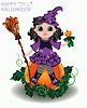 Векторный клипарт: Happy Halloween. Маленькая симпатичная ведьма с тыквой куклы,
