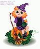 Векторный клипарт: Happy Halloween. Маленькая ведьма и тыква кукла, вектор