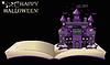 Векторный клипарт: Happy Halloween. открытая книга с древним замком, вектор