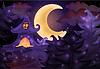 Векторный клипарт: Хэллоуин фон с привидениями дом, вектор