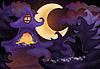 Векторный клипарт: Хэллоуин обои с привидениями дом, вектор