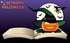 Векторный клипарт: Happy Halloween. Ведьма старая книга и луна, вектор Иллюстрированное
