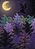 Векторный клипарт: Ночной фон с лесной карьер, векторные иллюстрации