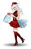 Векторный клипарт: Санта девушка с сумками и рождественский бал, вектор