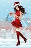 Векторный клипарт: Санта девушка с сумками в городе, вектор