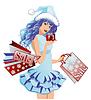 Sankt-Mädchen mit Einkaufstüten, Vektor-Illustration
