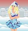 Schönes Sankt-Mädchen in der Stadt, Vektor-Illustration
