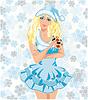 Sankt-Mädchen mit Pokerkarten, Vektor-Illustration