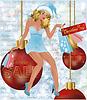 Weihnachtsverkauf Einkaufen Sankt-Mädchen, Vektor-Illustration