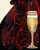 Valentinstag Love-Karte mit Champagner, vector