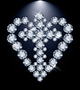 Diamant-Herz-und Christ-Kreuz, Vektor-Illustration