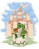 Kleine Fee Drachen und Burg, Vektor-Illustration