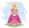 Kleine Prinzessin und Drache, Vektor-Illustration