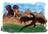Zwei magischen Drachen, Vektor-