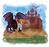 Magischer Drache und altes Schloss, Vektor-Illustration