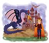 Magie König und Drache, Vektor-Illustration