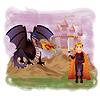 Junge König und magische Drache, Vektor-Illustration
