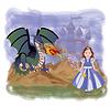 Junge Prinzessin und magische Drache, Vektor-Illustration