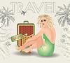 Векторный клипарт: Летние путешествия подколоть девушка, векторные иллюстрации