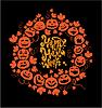 Halloween-Karte - Orange Silhouette von Kürbissen auf