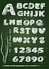 ABC - alfabeto Inglés escrito en la pizarra en | Ilustración vectorial