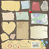 Reihe von alten Papier Stücke - verschiedene im Alter von Papier