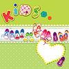 Tarjeta - niños sabuesos, corazón del cordón y KIDS palabra   Ilustración vectorial