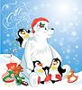Karte mit lustigen Pinguine und Eisbären mit