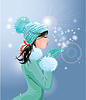 Hermosa chica morena con el sombrero de invierno cálido azul i | Ilustración vectorial