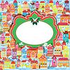 Marco con casas de colores decorativos. Navidad una | Ilustración vectorial