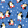 Бесшовные с забавными пингвинов и | Векторный клипарт
