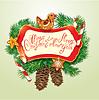 Tarjeta con navidad pan de jengibre, bastones de caramelo y fir-tre | Ilustración vectorial