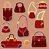 Conjunto de bolsas de mujer y bolsos | Ilustración vectorial