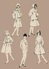 Set elegante Frauen - Retro-Stil Models