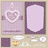 Conjunto de tarjetas de invitación de boda con flores | Ilustración vectorial