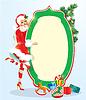 Rubio navidad Chica vistiendo Santa Claus traje de permanencia | Ilustración vectorial