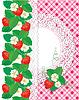 Tarjeta con Fresas y del círculo del cordón marco en | Ilustración vectorial