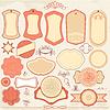 Vintage Labels in rosa und beige Farben mit eingestellt
