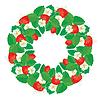 Kreis-Verzierung mit Erdbeeren in Herzform