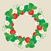 Ornamento del círculo con las fresas en forma de corazón | Ilustración vectorial