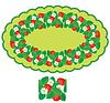 Ovalen Rahmen mit Erdbeeren, Blumen und Blättern