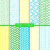 Die hellen und einfachen, gelb, grün und blau Muster-Set