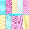 Helle und einfache gelbe rosa und blau-Muster-Set