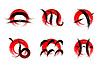 Reihe von Anzeichen Tierzeichen gemalt mit Pinsel,