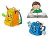 Bunte Comic-Junge mit Buch und Schulrucksäcke