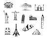 Black and white worldwide landmarks set | Stock Vector Graphics